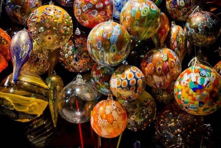 Красивые украшения муранского стекла в Венеции  Венеция в декабре Murano glass ornaments