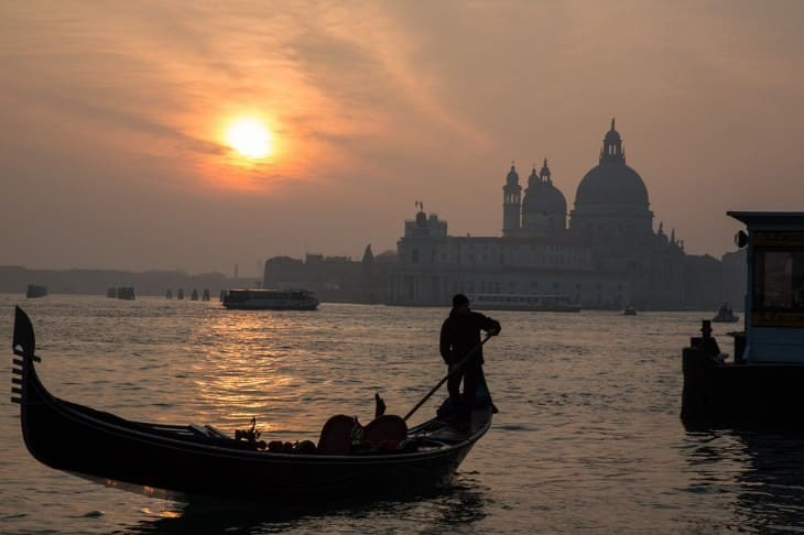 Закат в Венеции  Венеция в декабре Sunset in Venice